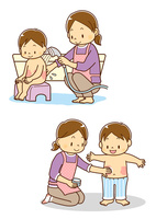 湿疹の出た子供にシャワー浴をさせる母親、子供に薬をつける母親