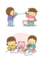糸電話で話をする幼児、工作で糸電話を作る幼児