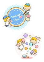 アイシングクッキーを作る小人、金平糖を持つ天使