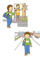 母親に見送られて家を出る男の子、通学路を歩いて学校に向かう男の子