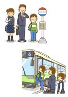 バス停で並んでバスを待つ男の子、バスに乗り込む男の子