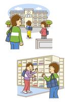 学校に登校する男の子、下駄箱で友達に挨拶をする男の子
