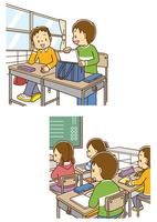 学校で自分の席につく男の子、教室で授業を受ける男の子
