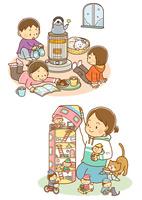 ストーブにあたる子どもたちと猫、ドールハウスで遊ぶ女の子と猫
