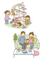 キャットタワーに登る猫と遊ぶ子供、ソファーに座る猫とカップル