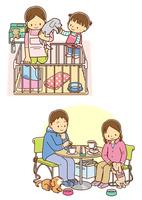 飼い犬のトイレを片付ける女性と子供、飼い犬とカフェでくつろぐカップル