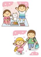お花見をする男の子と女の子と猫、桜の下を走る園児と小学1年生