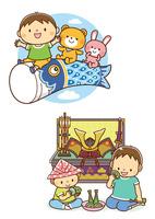 こいのぼりにまたがる子供と動物たち、兜を飾って柏餅を食べる兄弟