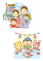 こいのぼりと家族、鯉のぼりの形をしたケーキを食べるこどもと動物たち