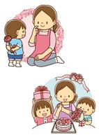 母の日のカーネーションを送る男の子、母の日のケーキを送る兄弟