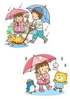 雨の中傘をさして犬の散歩をする兄弟、傘にてるてる坊主を下げる女の子