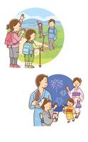 トレッキングをする家族、夏祭り花火見物をする家族
