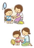 子供に日焼け止めを塗るお母さん