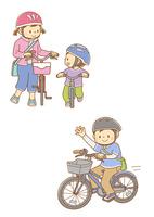 自転車を押す女の子とランニングバイクに乗る男の子、自転車に乗って手を振る男の子