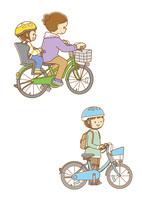 自転車に二人乗りする親子、自転車を押す小学生