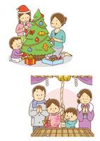 クリスマスツリーに飾りつけをする親子、初詣に行く親子