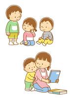 立っているこどもと座っている子供、保育士さんと子供 10468000379| 写真素材・ストックフォト・画像・イラスト素材|アマナイメージズ