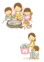 ホットケーキを焼く親子、おかあさんに甘える子供