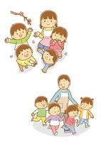 桜を見上げる先生と園児、男性保育士さんとお散歩する子供たち