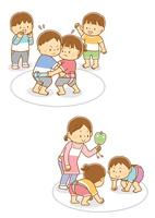 相撲を取る子供たち、相撲を取る子供たちと行司をする先生