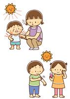 日焼けあとが痛い子供とお母さん、日焼け止めを塗る小学生