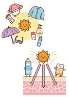 太陽と日焼け防止グッズ,日焼けする皮膚