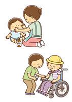 赤ちゃんに日焼け止めをぬるお母さん、車いすの高齢者に日焼け止めを塗るヘルパーさん