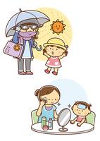 日焼け対策をする母親と子供、肌の手入れをする親子