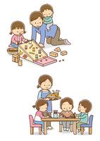ドングリを使ってあそぶ親子、遊んでいるこどもたちとおやつを持ってきたお母さん
