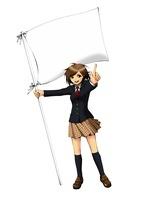 白い旗を持って指をさし立つ女子学生