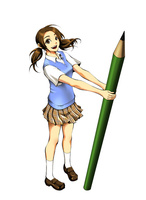 大きい鉛筆を持って立つ女子高生 10469000012| 写真素材・ストックフォト・画像・イラスト素材|アマナイメージズ