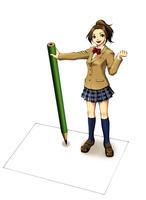 大きい鉛筆を持ってホワイトボードの上に立つ女子高生 10469000013| 写真素材・ストックフォト・画像・イラスト素材|アマナイメージズ