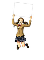 ホワイトボードを掲げてジャンプする女子高生