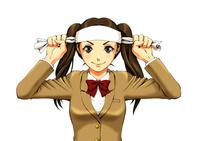 正面を見据え、ぎゅっとハチマキを巻いて気合を入れる女子高生(バストアップ) 10469000015| 写真素材・ストックフォト・画像・イラスト素材|アマナイメージズ