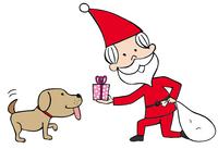 サンタクロースと犬 10471000014| 写真素材・ストックフォト・画像・イラスト素材|アマナイメージズ