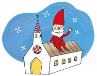 教会の屋根に座っているサンタクロース