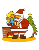 子供を抱いているサンタクロース 10471000018| 写真素材・ストックフォト・画像・イラスト素材|アマナイメージズ