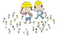 お花畑の中を歩く子供たち