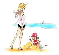海を楽しんでいる女性と子供
