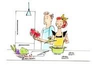 料理を作っている女性と男性