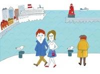 街の港で歩いているカップル