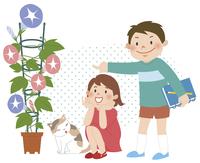 植物を見ながら笑っている子供たち 10471000118| 写真素材・ストックフォト・画像・イラスト素材|アマナイメージズ
