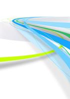 水平線から向かってくる何本かの青・緑色のライン