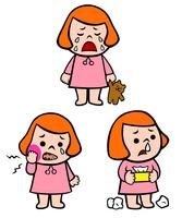 泣く女の子、歯が痛い女の子、鼻水が出ている女の子