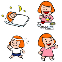 寝る子供、ご飯を食べる子供、運動する子供、元気な子供