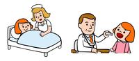 子供を看病する看護師、子供を診察する医師