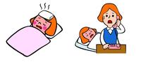 熱を出した子供、病院に電話をする母