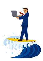 パソコンをしながらサーフィンをするビジネスマン 10471000176| 写真素材・ストックフォト・画像・イラスト素材|アマナイメージズ