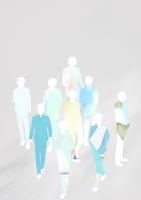 グレーを背景にテクスチャを貼った群衆のシルエット 10471000185| 写真素材・ストックフォト・画像・イラスト素材|アマナイメージズ