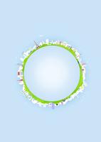 背景が水色の地球に見立てた円の周りに並べた建物と緑